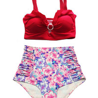 Red Top and Pink Violet Flora Floral print High Waisted Waist Bottom Swimsuit Swimwear Bikini 2PC Bathing suit Woman Womens Lady Girl S M L
