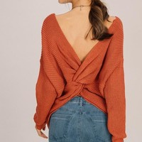 Alex Open Back Sweater Brick