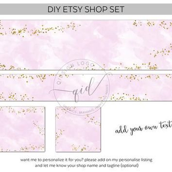 Premade Etsy Shop Set Graphics, Blush and Glitter Gold Confetti Cover Images, Etsy Banners, Etsy Shop Graphics,Banner Set, Etsy branding Kit