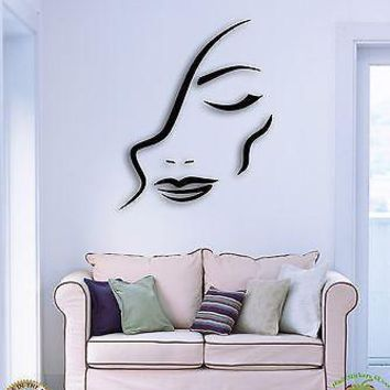 Wall Sticker Beatiful Girl Woman Female Abstract Modern Decor  Unique Gift z1527