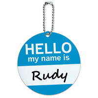 Rudy Hello My Name Is Round ID Card Luggage Tag