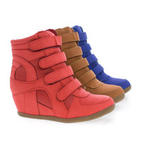 Mokoko Blue Nubuck by Sully's, Hook & Look Multi Strap Hidden High Wedge Heel Fashion Sneakers