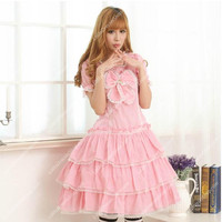 Pink Ladies Big Bowknot Sweet Lolita Dress
