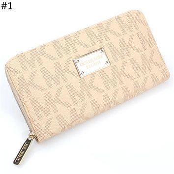 MK Michael Kors Fashion Trend Classic Print Logo Women's Long Zip Wallet #1