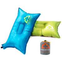 HIGHROCK Outdoor Camping Portable Blue/Green PVC-Coated Air Inflatable Pillow Neck Support