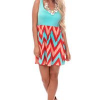 Mint and Peach Multi Chevron Dress