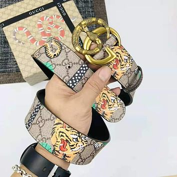 GUCCI Trending Woman Men Stylish Snake Smooth Buckle Leather Print Belt