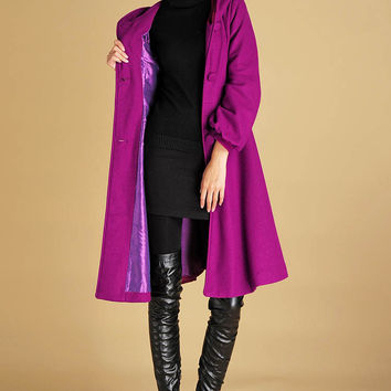Purple wool coat winter warm dress coat long sleeve jacket (0435)