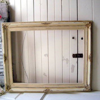 Antique White and Gold Large Ornate Open Frame, Shabby Chic Off White Distressed Frame, 18 x 24 Open Frame, French Farmhouse Frame