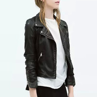 Faux Leather Convertible Collar Jacket with Rivets