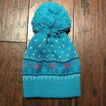 Vintage Wigwam Mills 1980s 80s Winter Hat Teal Pink Flower Pom Beanie Made USA