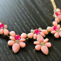 Pink Statement Necklace- Statement Necklaces, Chunky Necklaces, Choker Necklace