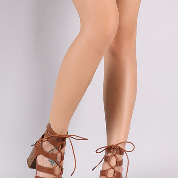 Lace Up Gladiator Chunky Heel