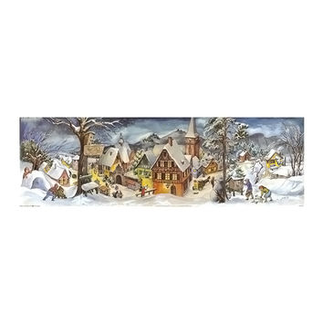 Sellmer Advent Christmas Panorama Village Calendar Card 27H x 8.75W x .1D
