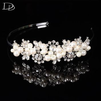 Wedding Accessories AAA Crystal Bridal Hair Crowns Women Imitated Pearls Jewel Hairpin Silver Color Floral Crystal Tiara F24