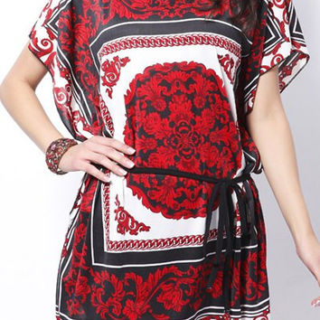 Red and Black Floral Print Drawstring Dress