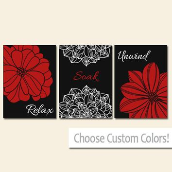 BATHROOM DECOR. Wall Art Canvas or Print Flower Bathroom Pictures Black Red Relax Soak Unwind Quote Words Flower Decor  Set of 3 Home Decor