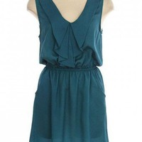 TEAL RUFFLE SOLID DRESS @ KiwiLook fashion