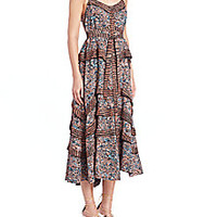 Proenza Schouler - Ruffled Printed-Silk Dress - Saks Fifth Avenue Mobile