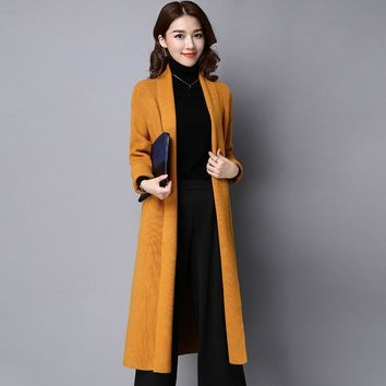 Cardigan Women 2018 Spring Autumn High Quality Pure Mink Cashmere Open Stitch Fashion Loose Casual Sweaters Outwear Coat 1216