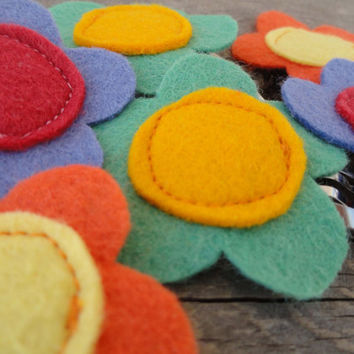 Summer Rainbow Felt Flower Snap Clips Set of Six by OddEDesigns