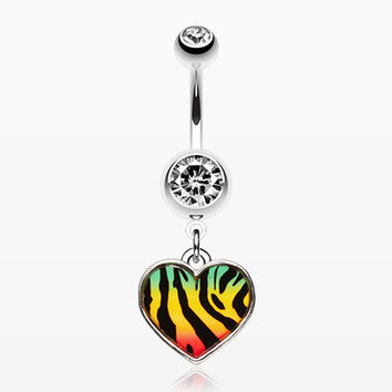 Rasta Stripe Tiger Pattern Heart Belly Ring