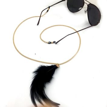 Women Fashion Vintage Feather decoration Eyeglass Eyewears Sunglasses Reading Glasses Chain Cord Holder neck strap Rope