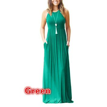 Green Strapless Long Beach Dress