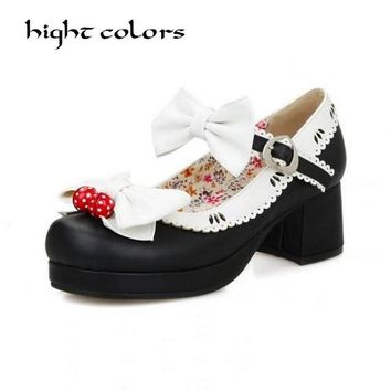 New Ladies Sweet Black Candy Color Womens Mary Janes Pumps Low Heel Lolita Bowknot Shoes For Women Princess Shoes 34~43