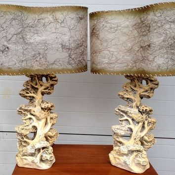 Vintage Pair of Glass Table Lamps!!