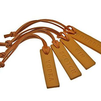 Liquor Decanter Bottle Tags for Whiskey Bourbon Vodka and Gin Genuine Leather  set of 4 Brown