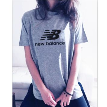 "Hot fashion""NEW BALANCE""Leisure T-shirt top Grey"