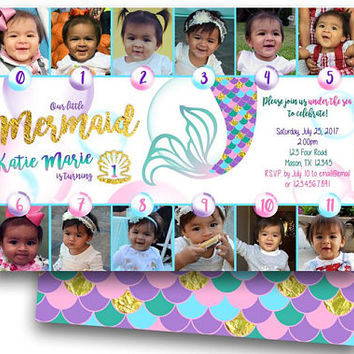 Mermaid 1st Birthday Invitations - Girl 1st Birthday Photo Timeline Invitations - Under The Sea 1st Birthday Invitation - Mermaid Invites