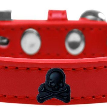 Skull Widget Dog Collar Red Size 18