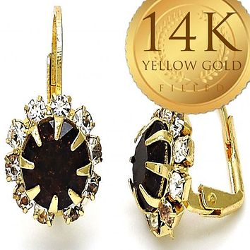 Gold Layered Women Flower Leverback Earring, with Garnet Crystal, by Folks Jewelry