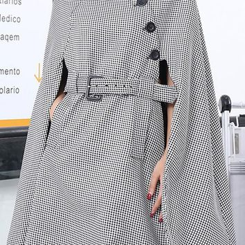 Black-White Plaid Irregular Pockets Buttons Belt Round Neck Long Sleeve Cape Coat