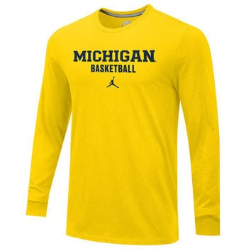 Jordan University of Michigan Basketball Yellow Long Sleeve Tee