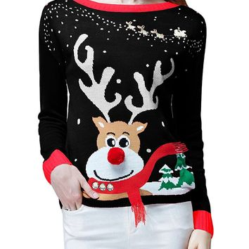 V28 Women's Ugly Christmas Sweater, Ladies Girls Cute Reindeer 3D Nose Sweater
