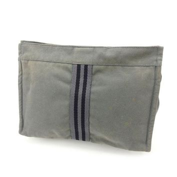 Hermes Clutch bag Fourre Tout Grey Black Woman Authentic Used Y1835