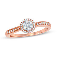 1/4 CT. T.W. Diamond Frame Cluster Promise Ring in 10K Rose Gold - Save on Select Styles - Zales