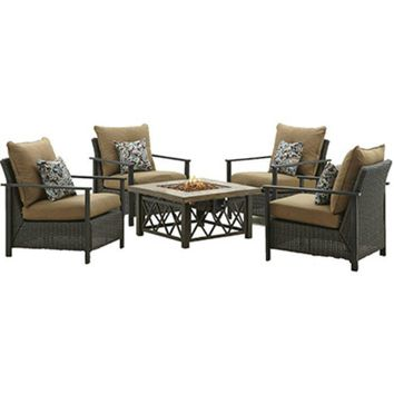Four Seasons Courtyard 68852 Aspen Collection Gas Fire Chat Table, 50000 BTU