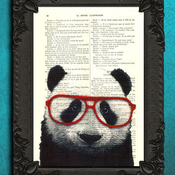 panda bear with red glasses panda art print upcycled recycled repurposed giant panda altered art