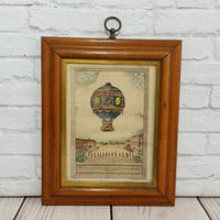 Vintage Balloon Etching Charles Dupont Art Print Lithograph Framed