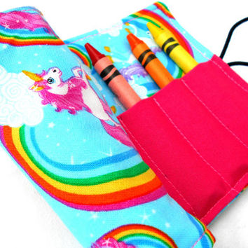 Unicorns and Rainbows Crayon Roll - Unicorn Rainbow Crayon Pink Roll, 8 Crayons
