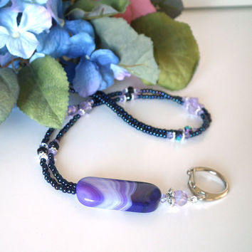 Beaded ID Badge Lanyard. Purple Agate Pendant Bead. Silver Lanyard Clasp. Purple Czech Glass Rondelles, Light Violet Crystals