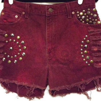 Red Studded Cut Off Shorts Size 30 Waist High Waisted by twazzy