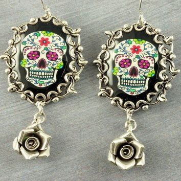 Sugar Skull Earrings Day of the Dead Earrings Dia de los Muertos Earrings Mexican Dangle Gothic Earrings Rose Silver Filigree Halloween