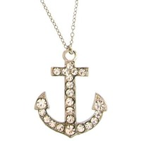 100% Nickel Free Anchor Nautical Pendant Necklace with Swarovski Stones, in Crystal with Silver Tone Finish