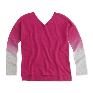 Dip-Dye V-Neck Sweater, Fuchsia, Girls' 4-6X,