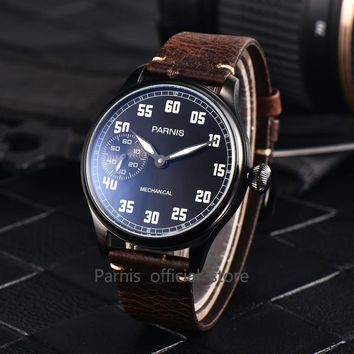 2017 Issue Casual Men's Watch Mechanical Hand Winding Watch Leather 44mm Parnis Hand Wind Male Clock Hour 17 Jewels Small Second